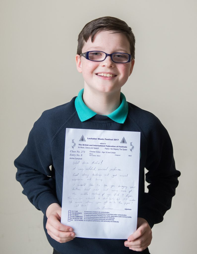 Archie Campbell St Columbas 1st in Chanter Solos age 10 and under.