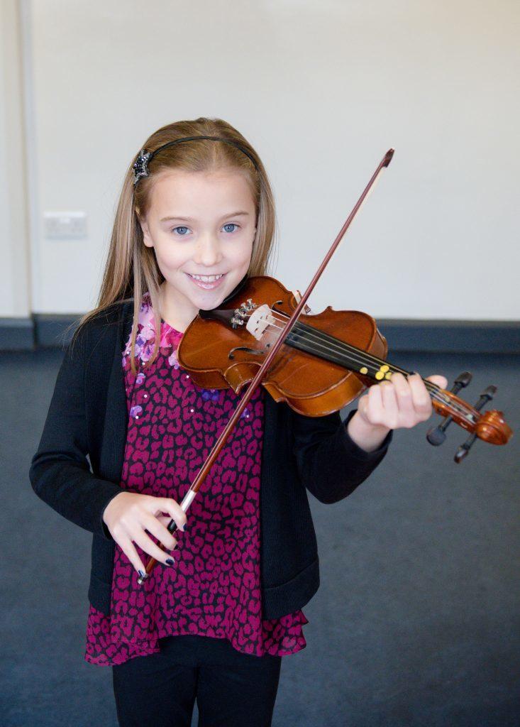 Cerys Denholme winner of violin solos scots- beginners Lochaber music school.