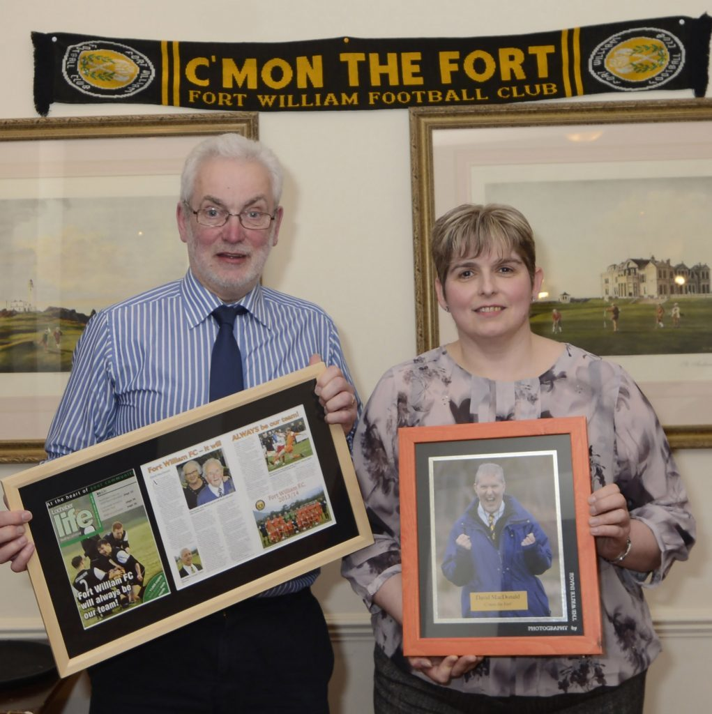 Lochaber Life Editor, Iain Ferguson presented two gifts to the Fort William Football Club to honour the memory of stalwart, the late David MacDonald.  Fort Secretary, Marie MacMillan accepted the framed copy of Lochaber Life with a feature on the club written by David and a framed picture of him celebrating a Claggan Park win. Both will be displayed in the clubhouse.