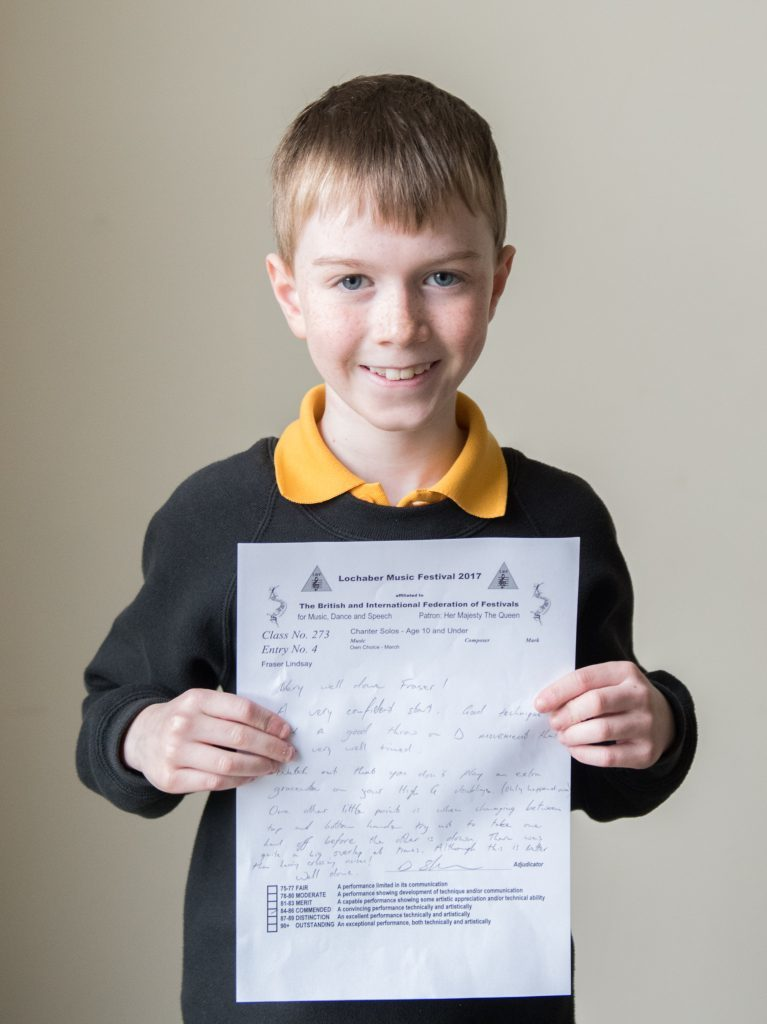 Fraser Lindsay Inverlochy primary 2nd in Chanter Solos age 10 and under.