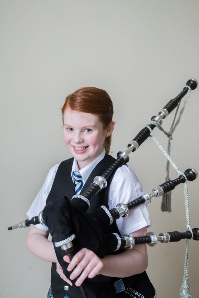Laura Robertson 1st in Bagpipe solos intermediate and 1st year piobaireachd.