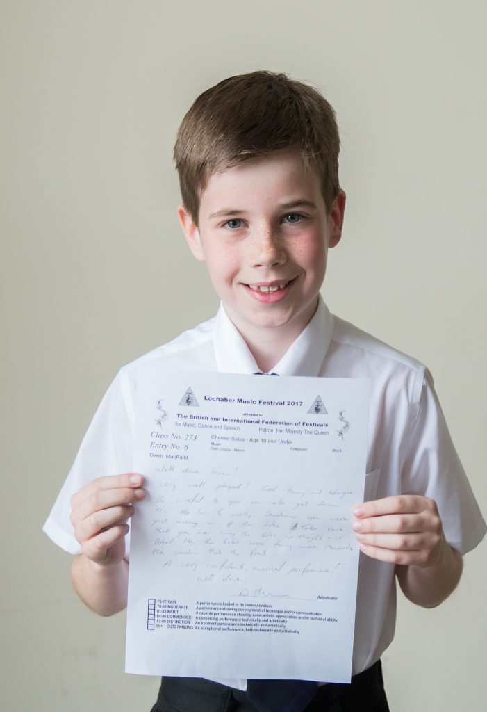 Owen MacRaild Lochaber pipe band 3rd in Chanter Solos age 10 and under.