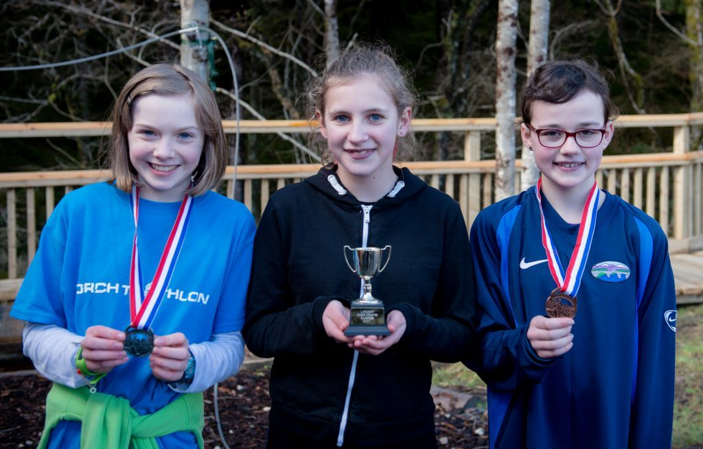 Girls' race winners: Mya Carmichae, Strontian (second),  Bregha Miller, Arisaig (first) and Hannah Loughray, Spean Bridge (third). Abrightside Photography