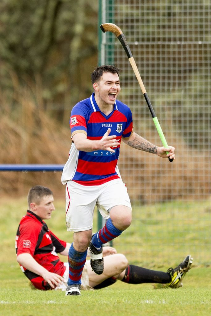 Kingussie captain Ryan Borthwick breaks the deadlock with the opening goal against Glenurquhart at The Dell last Saturday. Photo: Neil Paterson