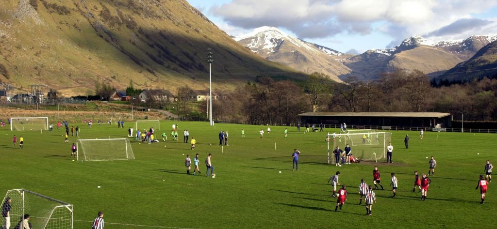 FOOTBALL 17/4/12 Claggan Park, one the best views of any football ground.   PICTURE  IAIN FERGUSON, THE WRITE IMAGE. F16football1noIF