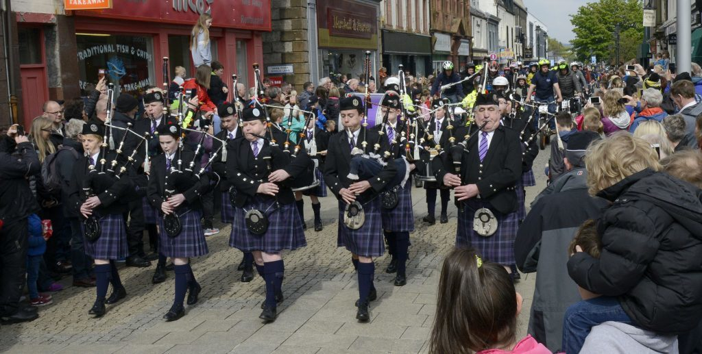 Lochaber Pipe Band led the parade along  the High Street.  Photograph: Iain Ferguson, The Write Image