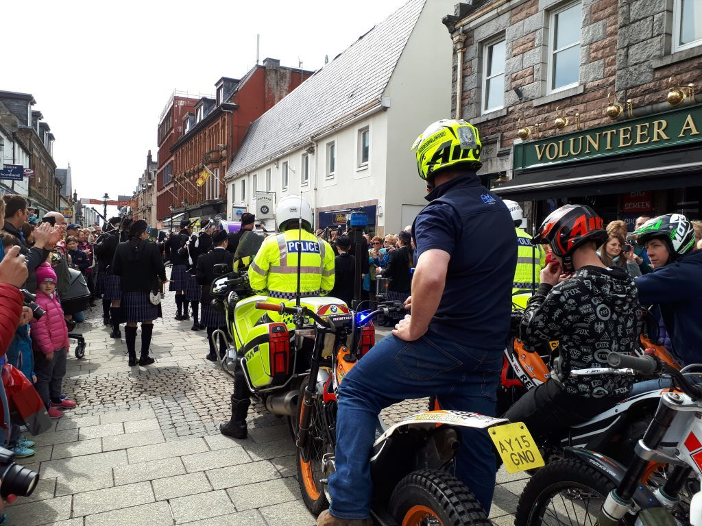 The parade was led by the Lochaber Pipe Band followed by police on motorcycles. Photograph: Iain Ferguson, The Write Image