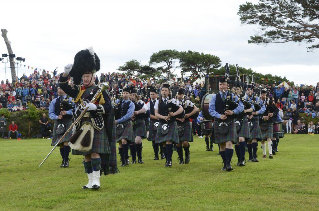 The popular parade of the Isle of Skye Pipe Band. F33 Skye Games 02NO. Photo: Sara Bain.