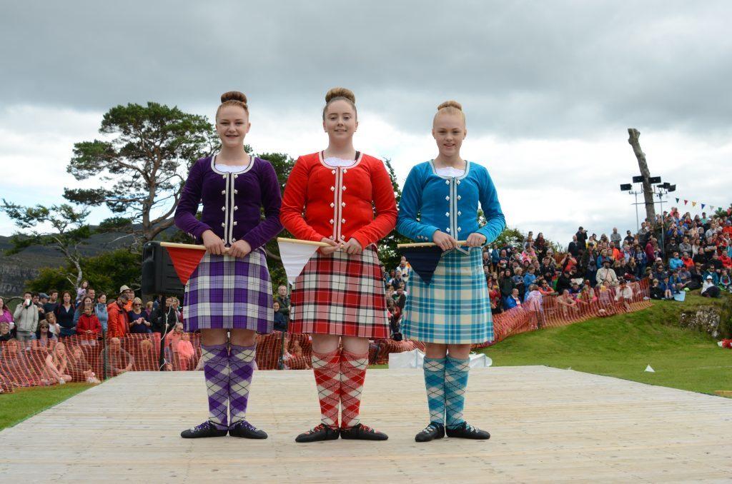 Young Highland dancers pose. F33 Skye Games 05NO. Photo: Sara Bain.
