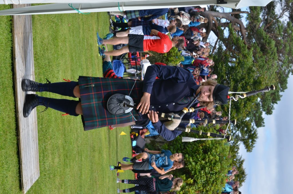 17-year-old piper Malin Lewis from Bernisdale impresses the judges  in the local Piobaireachd 16 years and over competition. F33 Skye Games 13NO. Photo: Sara Bain.