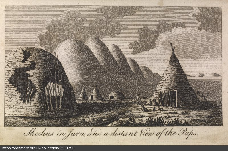 Engraving of sheilings and the Paps of Jura.
