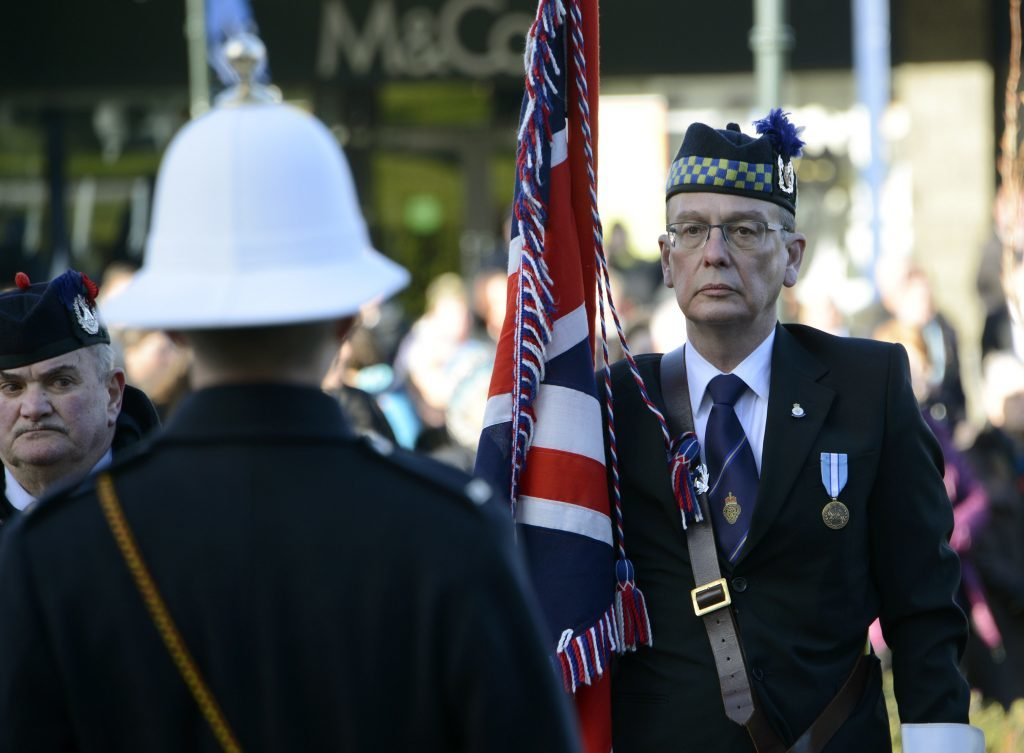 Drew Armitage Walker, from Kinlochleven, at the Remembrance Parade in Fort William on Sunday. IF F46 Remembrance Fort 01. Photo: Iain Ferguson, the Write Image.