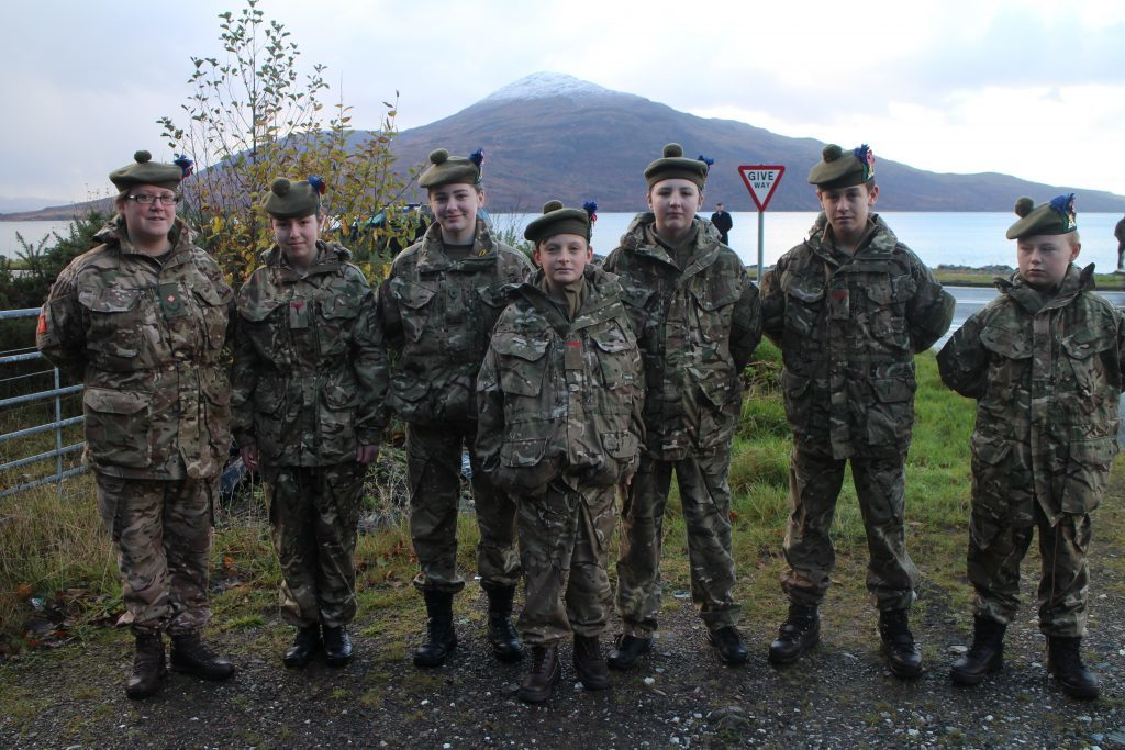 Young Kyle Cadets at the Remembrance service. IF F46 Remembrance Lochalsh 03.