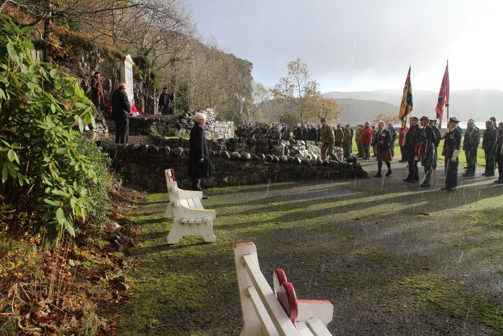 A good crowd turned out for the service, just outside Balmacara. IF F46 Remembrance Lochalsh 04.