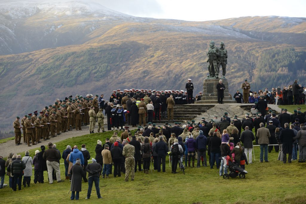 Hundreds of people attended the service at the Commando Memorial.  IF F46 Remembrance Spean 02. Photo: Iain Ferguson, the Write Image.