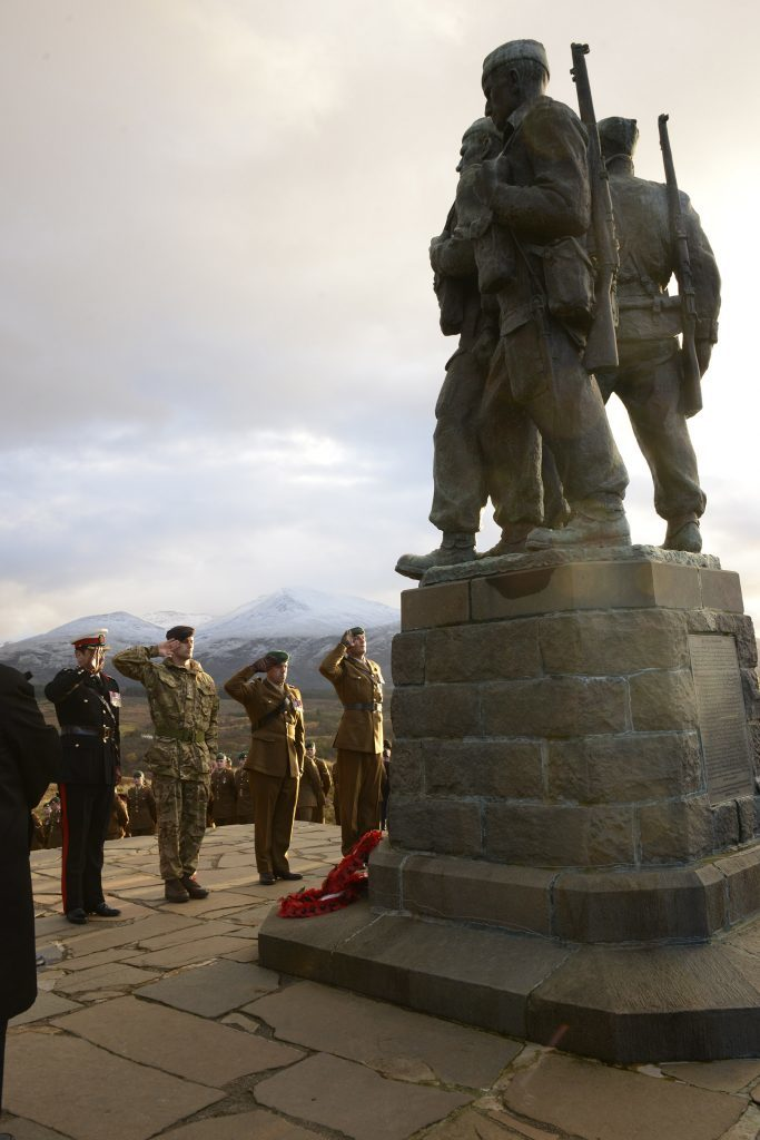 Wreath layers of four different Commando Units salute their memorial. IF F46 Remembrance Spean 05. Photo: Iain Ferguson, the Write Image.