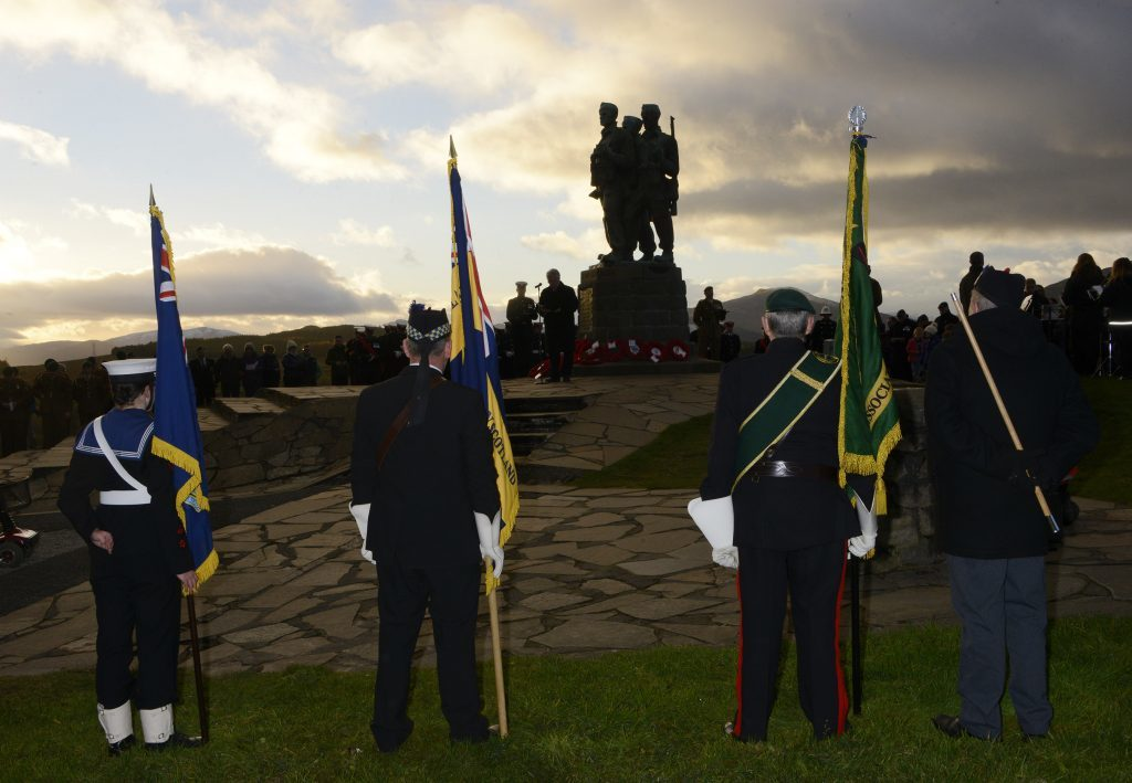 The sun sets over the Commando Memorial. IF F46 Remembrance Spean 08. Photo: Iain Ferguson, the Write Image.