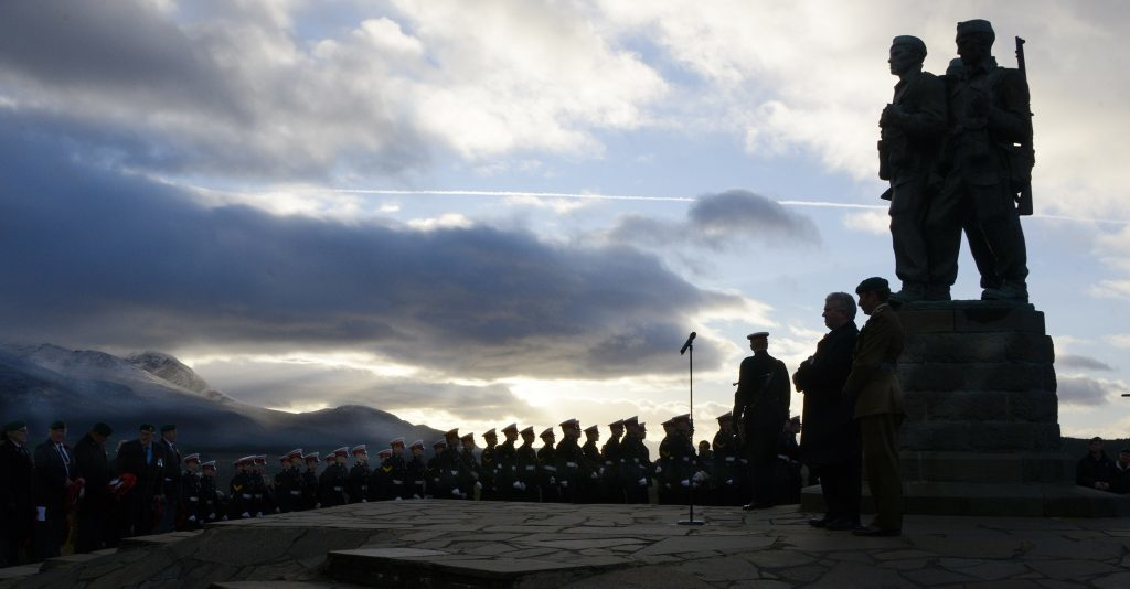 Ranks of Marines  march towards the service at the Commando Memorial. IF F46 Remembrance Spean 09. Photo: Iain Ferguson, the Write Image.