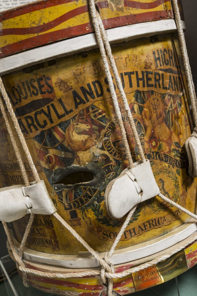 An Argylls regimental drum used in a South Africa campaign.