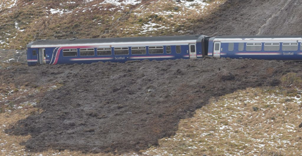 WEST HIGHLAND LINE LANDSLIDE 22/1/18 The Sprinter train trapped in the mud of the landslide just beyond Glenfinnan, on the world famous West Highland Line. PICTURE IAIN FERGUSON, THE WRITE IMAGE