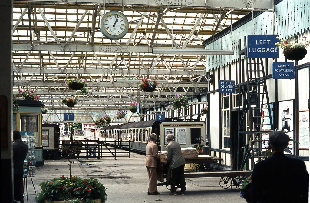 Passengers at Oban station were protected from the weather by the roof of the former building.