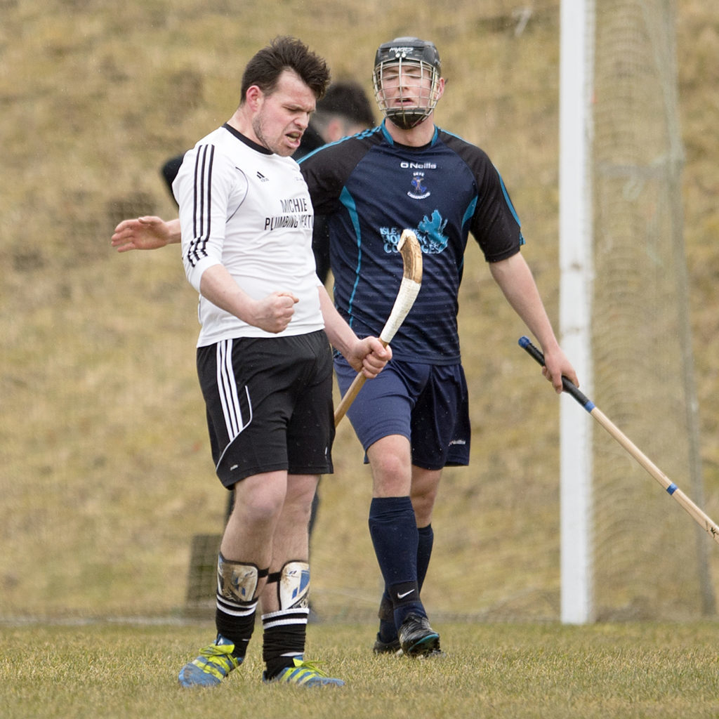 Lovat's Greg Matheson celebrates after scoring his second goal to seal the game against Skye. Photograph: Neil Paterson.