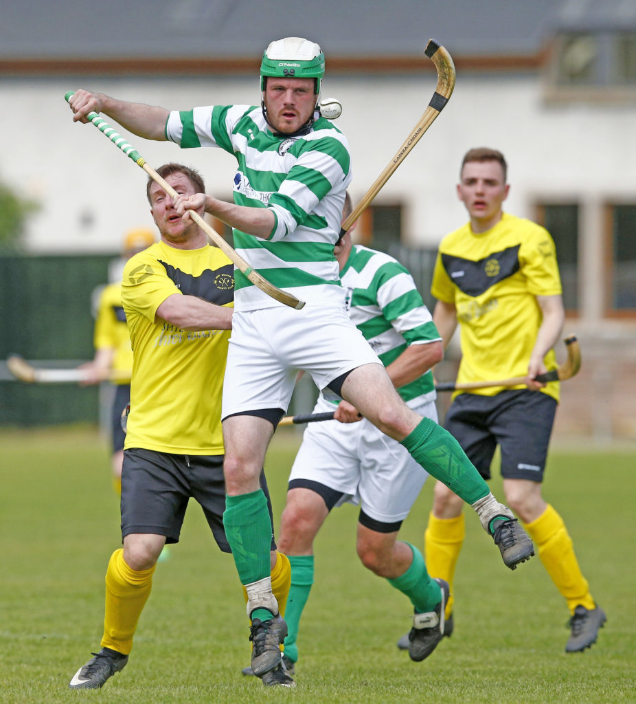Oban Celtic's Neil Carmichael gets the ball under control during last Saturday's Balliemore Cup tie against Fort William. Photo: Stephen Lawson