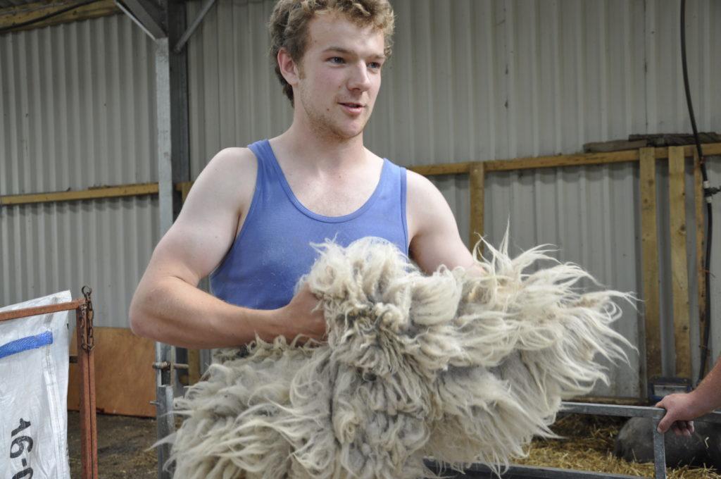 Callum Leitch rolls a fleece