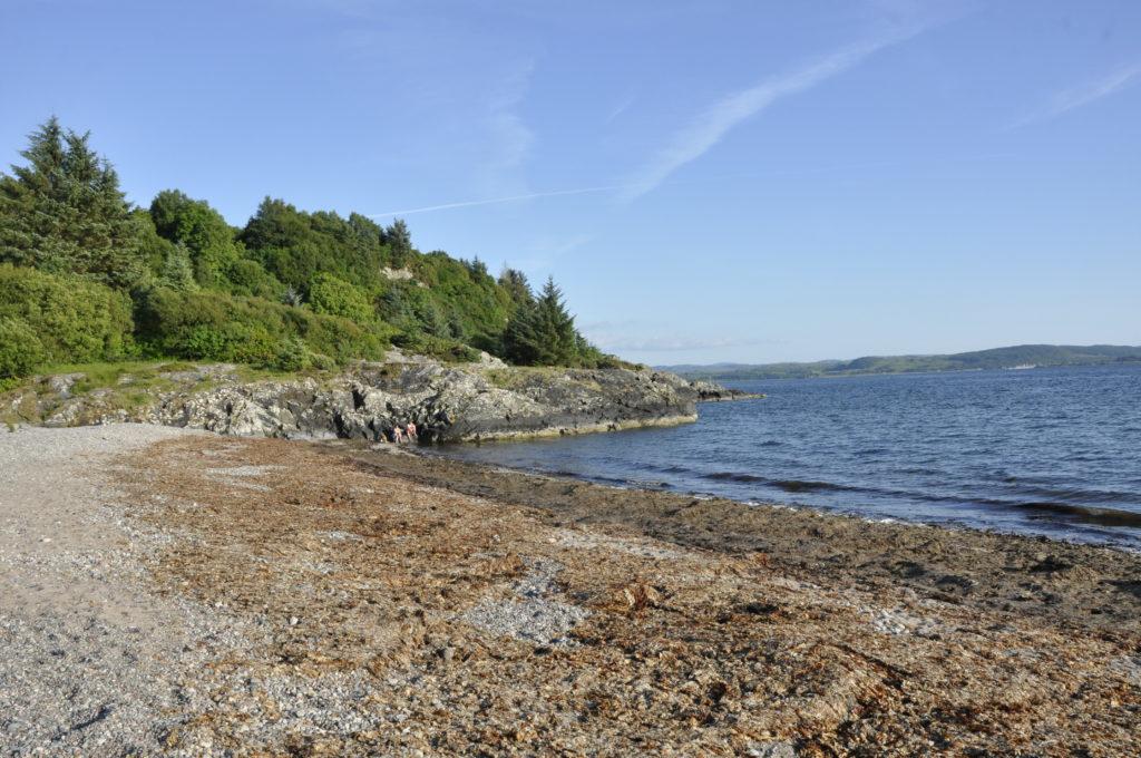 Rocky headland at Tralee Beach, a popular spot