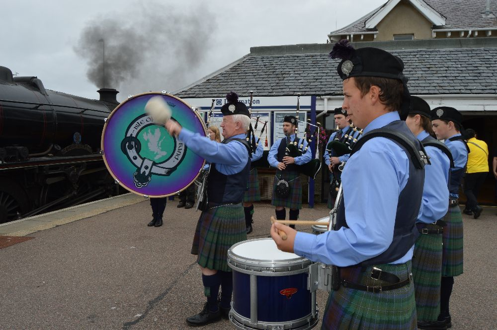 ​Isle of Skye Pipe Band played at the steam train arrived.