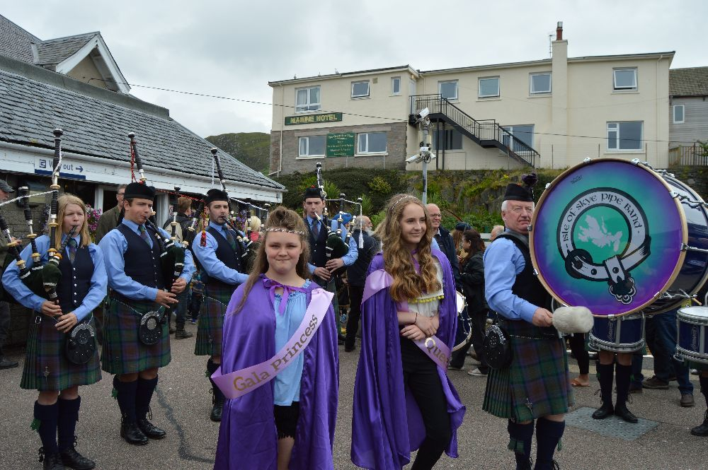 ​Isle of Skye Pipe Band and the Mallaig gala queen and princess welcomed the passengers arriving by steam train.
