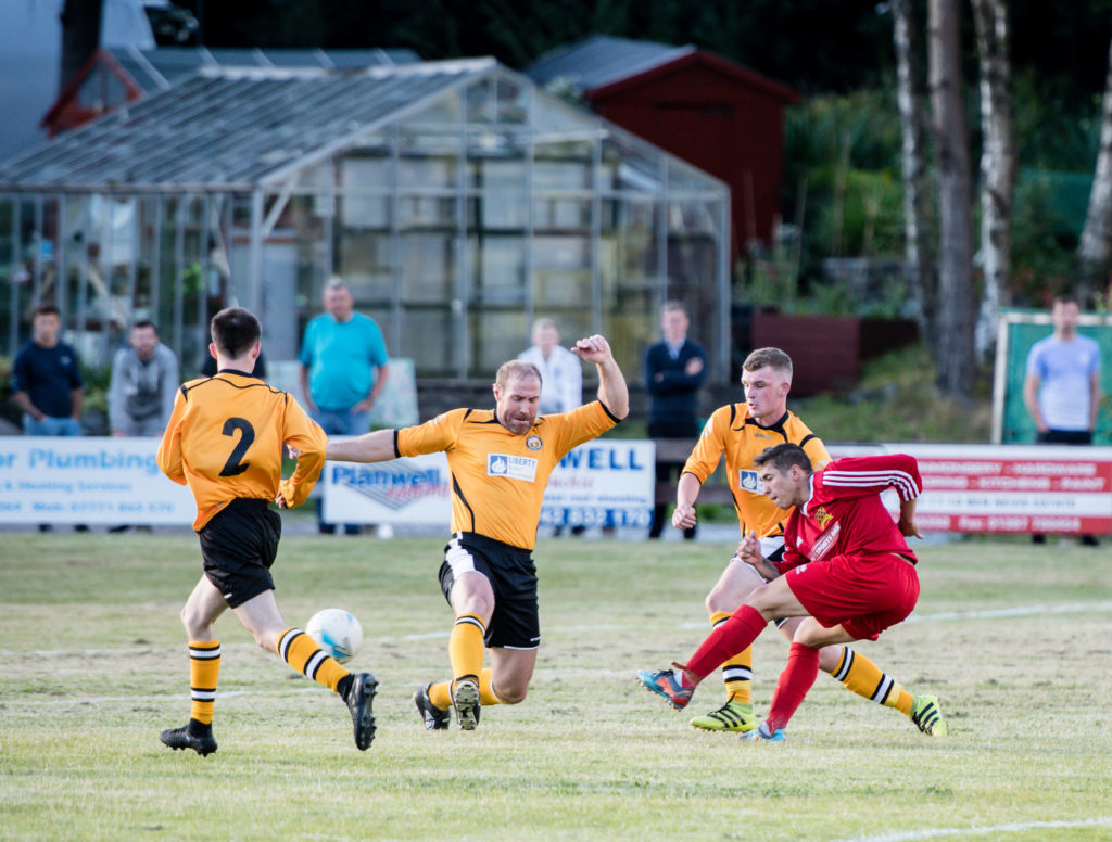 Danny MacIntosh opens the scoring in the first ever match between the two Lochaber teams.NO F30 Fort SLT 01