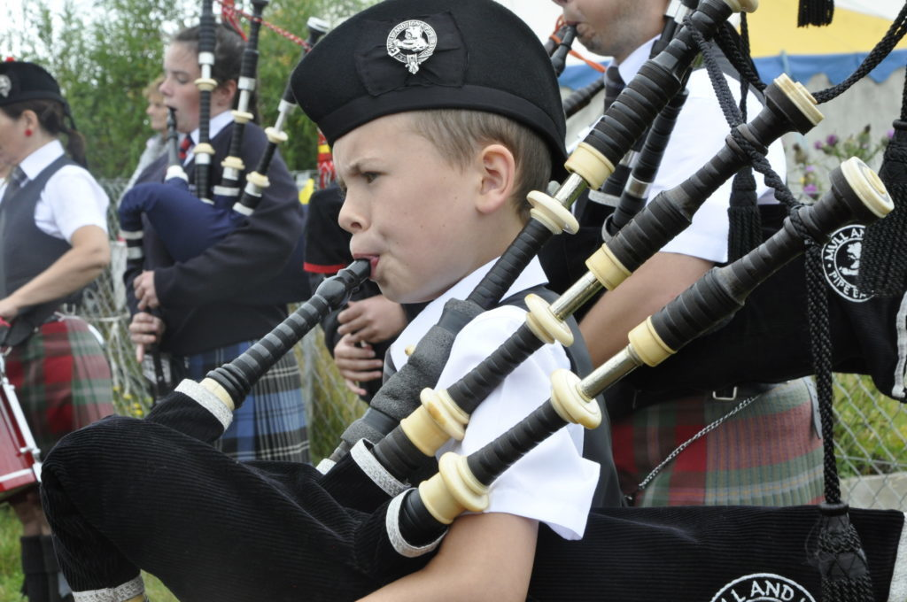 Young piper with Mull and Iona Pipe Band