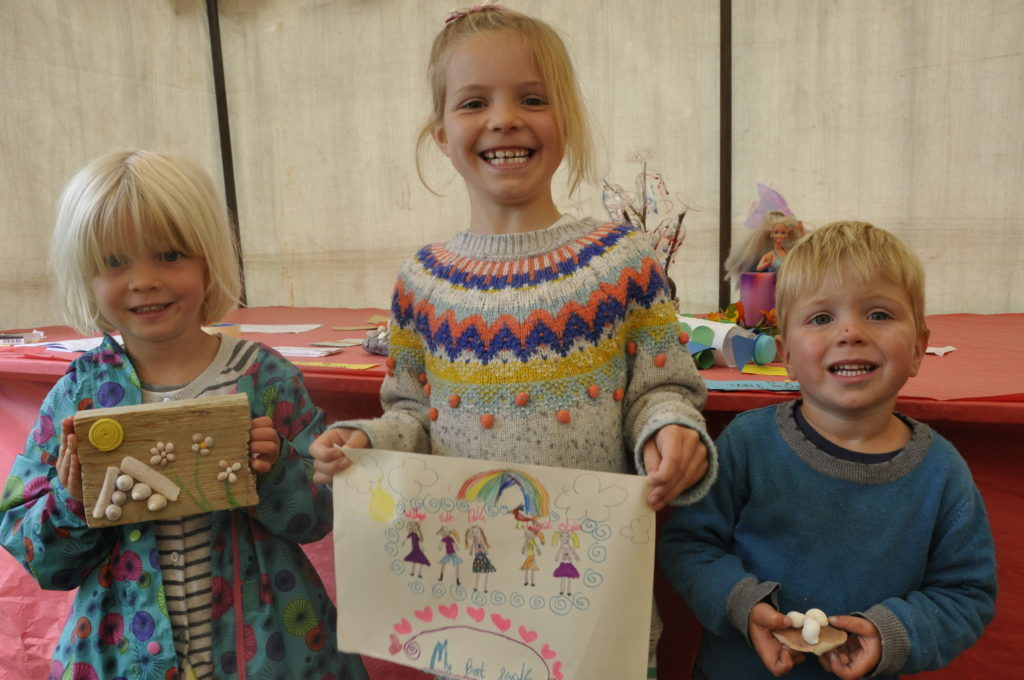 Four-year-old Mairi, Agnes aged seven and their brother James Astill who is three got creative at Bunessan Show