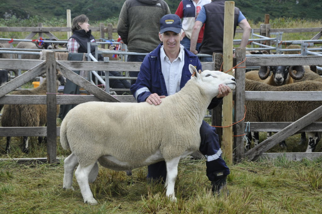 Robbie MacDougall from Tobermory with his tup that won champion non-Blackface sheep
