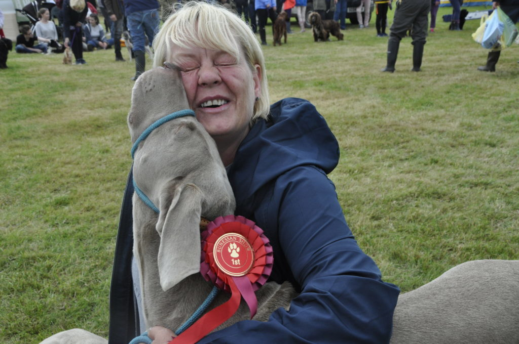 Lapping up attention from proud owner Julie Brown is Duke who won best gun dog