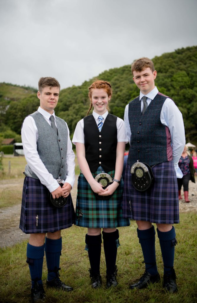 Andrew Orr, Laura Robertson and Ronnie MacIntosh - the young Lochaber pipers came away with four awards between them. F32 MM Games 01.