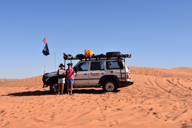 Kay Simpson and friend Debbie Proudfoot on top of the Big Red dune.