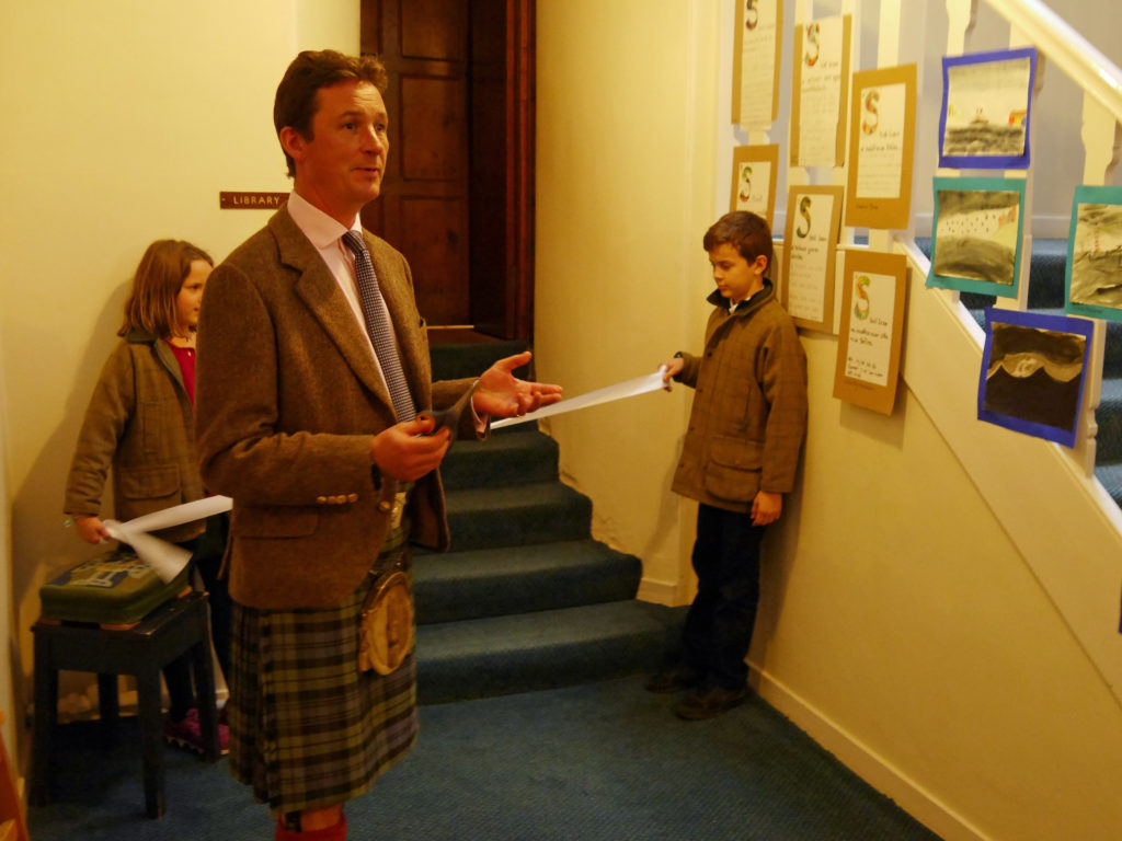 The Duke of Argyll's children help with the ribbon-cutting ceremony