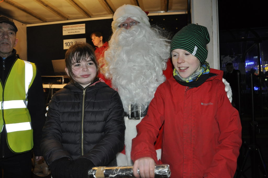 Eve Milarvie and Ruari Cottier take the plunge and switch on the Christmas lights in 2018.
