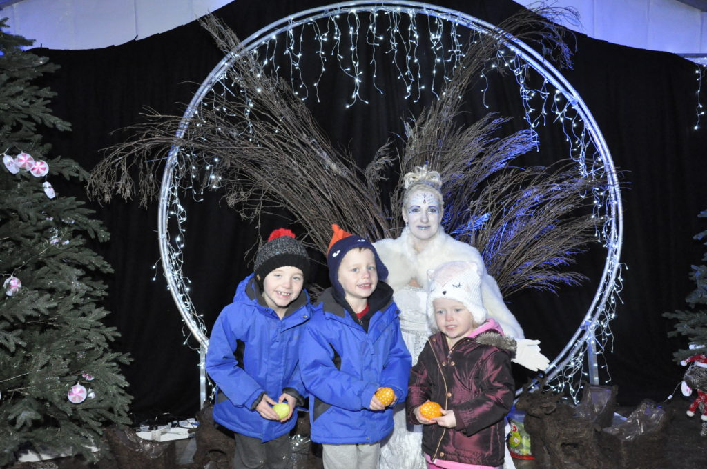 DJ, Jamie, and Amy Barr, met the Ice Queen at the end of last year's trail at Glencruitten Woods. 17_T48_WinterFestivaSaturday10