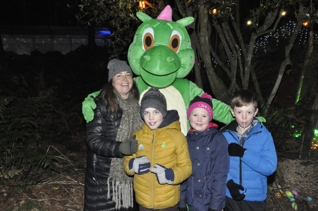 Linda and Marco MacGregor and Jaime and Alfie MacIntyre met Desmond the Dragon at the Winter in the Woods event. 17_T48_WinterFestivaSaturday17
