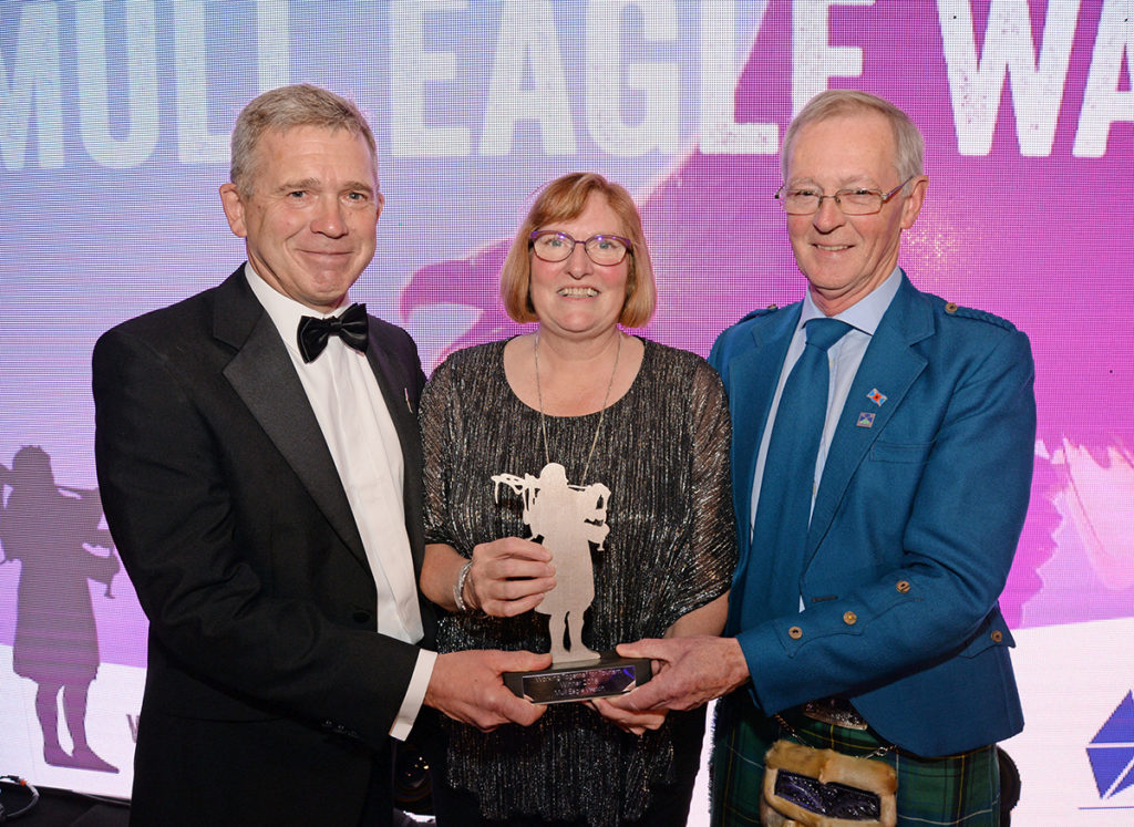 Councillor Allan Henderon, chairman of The Highland Council's Environment, Development and Infrastructure Committee, right, with Dave Sexton and Debby Thorne from Mull Eagle Watch. Picture: Gair Fraser