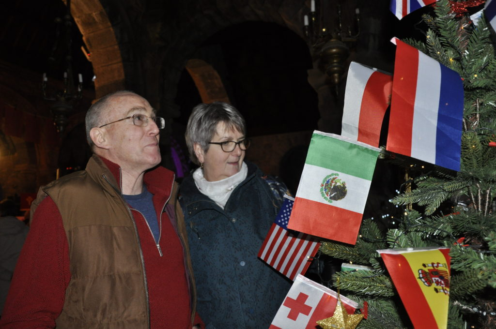 Flagging up the international flavour at St Conan's Christmas Tree Festival.