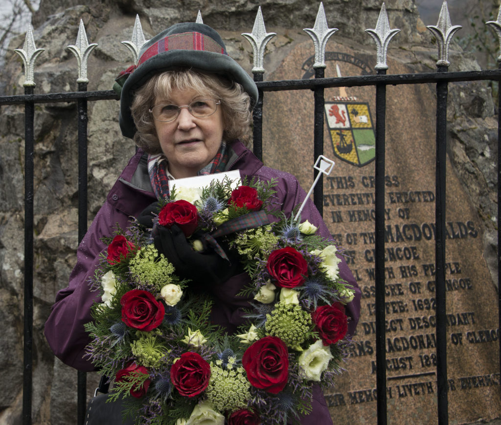 Ros Macdonald of the Glencoe Heritage Trust who laid a wreath on behalf of the Clan MacDonald Society of America.  PICTURE IAIN FERGUSON, THE WRITE IMAGE  NO F08 Glencoe massacre commemoration 04