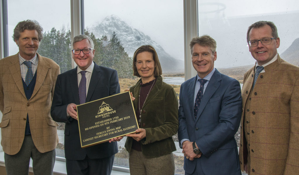 Fergus Ewing MSP at the reopening of the Kingshouse Hotel in Glencoe with, from left, Vicomte Rodolphe de Spoelberch (owner), Mr Ewing, Mrs Dianne Adriaenssen (owner),  Finlay Clark, partner at Bidwells (Project and estate managers), and  Stephen Leckie, CEO and owner, Crieff Hydro Family of Hotels. Photograph: Iain Ferguson