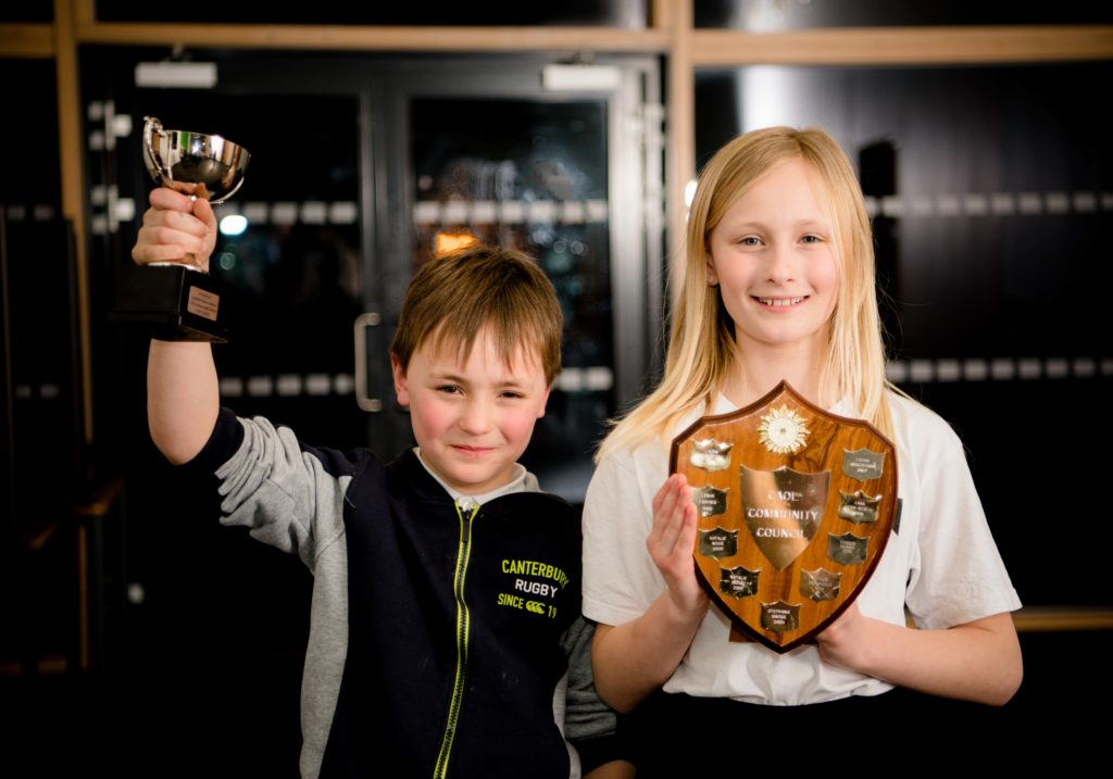 Brother and sister Rocco (left) and Lila Berardelli took home a trophy each, with Rocco winning the Val Howland-Cairney Trophy for solo verse for ages eight and under and Lila winning the Caol Community Council Shield for solo verse for age 11 and over.