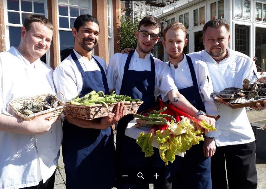 Isle of Eriska executive chef Graeme Cheevers with his kitchen team.
