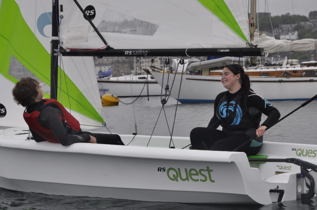 Kate Hone and Toby Murray-Anderson try out the Sea Cadet's new Quest boat.