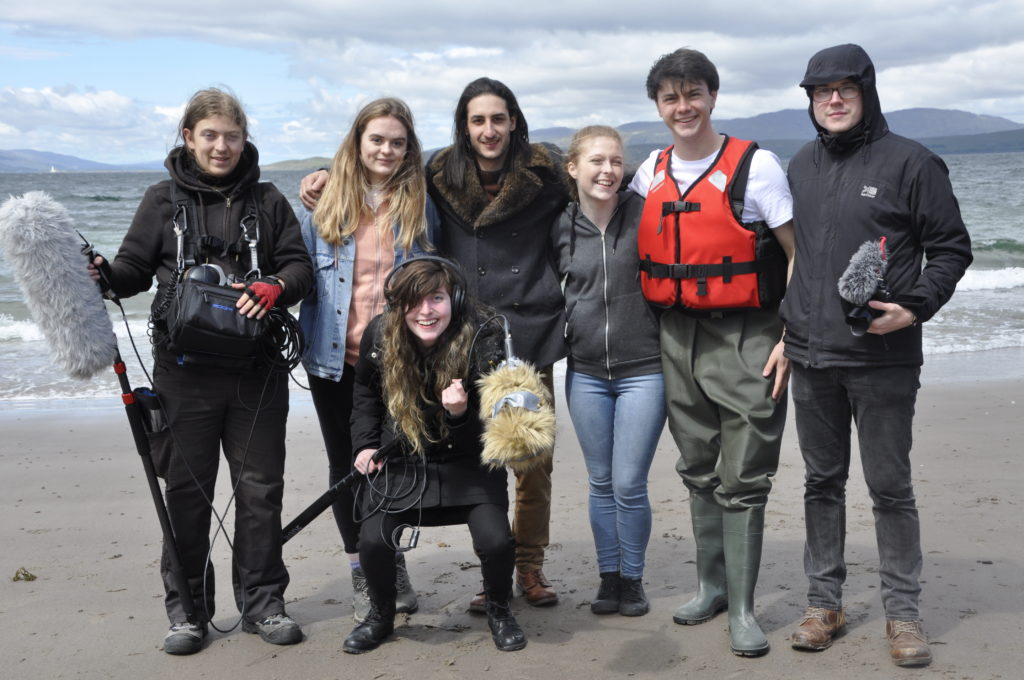 Cast and crew of Solstice take a break from filming at Wee Ganavan.